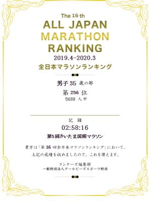 第16回全日本マラソンランキング